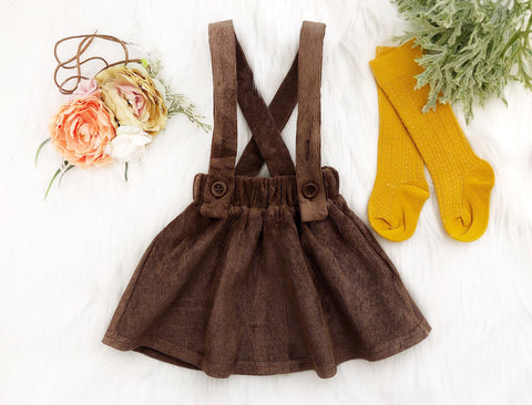 High-Waisted Corduroy Suspender Skirt
