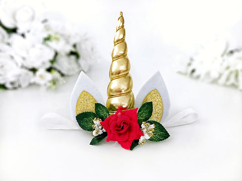 Christmas Unicorn Headband or Hair Clip