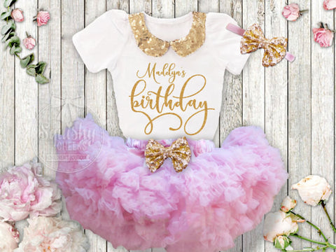 Personalized Gold Birthday Skirt Outfit