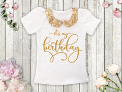 Gold Sequin Collar Birthday Shirt