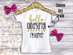 Girl's Personalized Hello Back To School Top