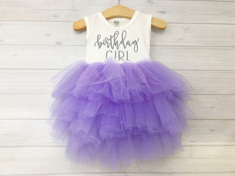 Copy of Girl's Purple and Silver Birthday Girl Dress