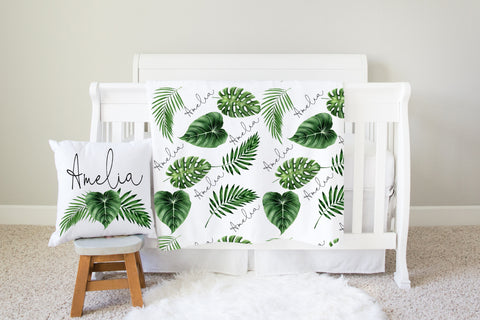 Personalized Leaf Nursery Swaddle Blanket