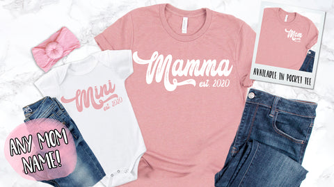 Retro Mommy and Mini Mother's Day Matching Top