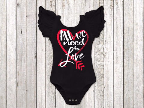 Girl's All We Need Is Love Valentine's Day Top