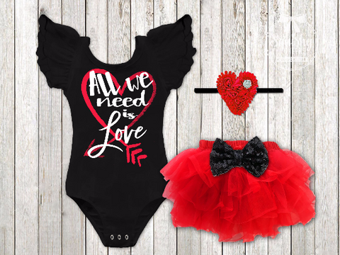Girl's All We Need Is Love Valentine's Day Outfit