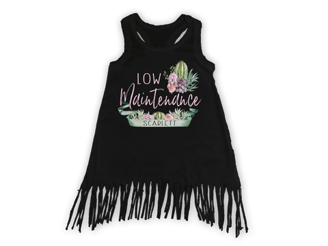 Girl's Personalized Low Maintenance Cactus Fringe Dress