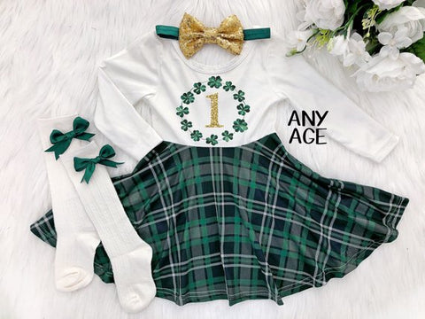 Girl's St. Patrick's Day Birthday Plaid Twirl Dress