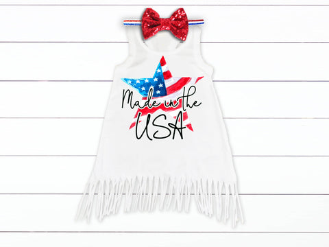 Girls Made In The USA 4th of July Fringe Dress