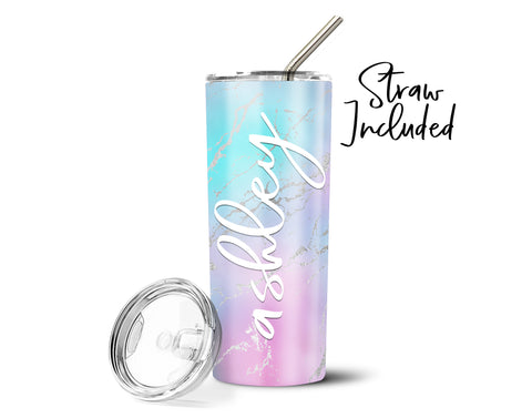Personalized Rainbow Marble Stainless Steel Straw Tumbler