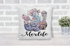 Girl's Merlife or Personalized Gold Sequin Pillow