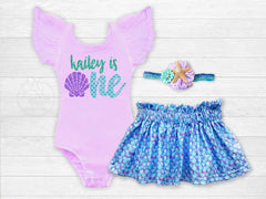 Girl's Personalized Mermaid Birthday Outfit
