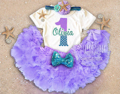 Girl's Personalized Mermaid Skirt Birthday Outfit
