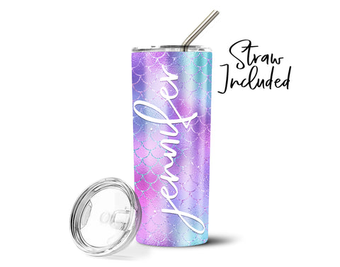 Personalized Mermaid Stainless Steel Straw Tumbler