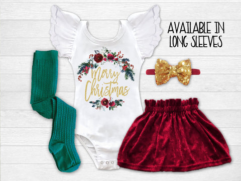 Girl's Merry Christmas Outfit