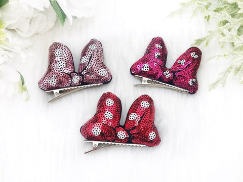 Mouse Sequin Bow Hair Clip