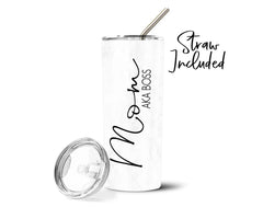 Mom AKA Boss Mother's Day Stainless Steel Straw Tumbler