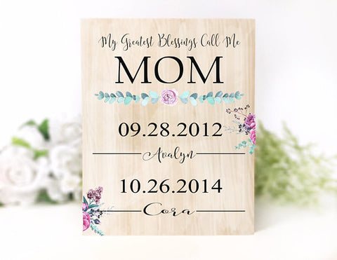 'My Greatest Blessings Call Me Mom' Personalized Plaque