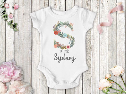 Girl's Personalized Floral Letter Top