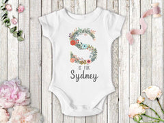 Girl's Personalized Floral Monogram Bodysuit