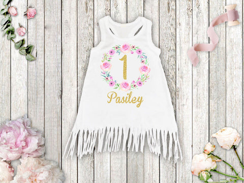 Girl's Personalized Floral Birthday Fringe Dress