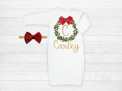 Baby Girls Monogram Christmas Wreath Gown