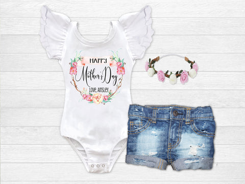 Girl's Personalized Happy Mother's Day Top