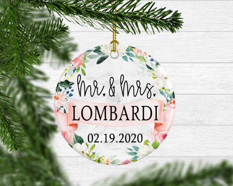Personalized Mr. & Mrs. Newlywed Keepsake Ornament