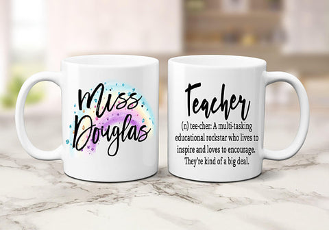 Personalized Definition of a Teacher Coffee Mug