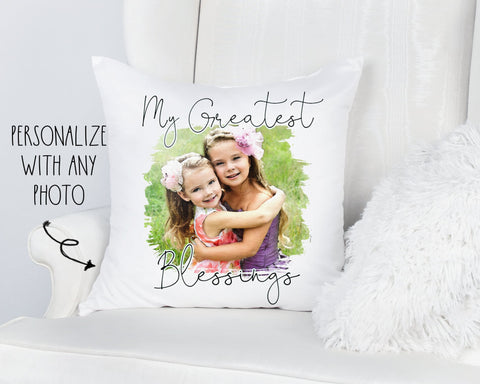 Mother's Day Personalized Photo Greatest Blessings Pillow