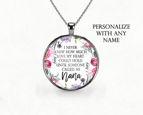 Personalized Grandma Floral Necklace