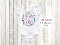 Girl's Personalized New Girl In Town Top
