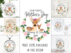 Our First Mother's Day Floral Deer Keepsake Pillow