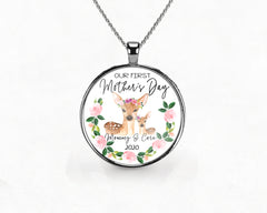 Floral Deer First Mother's Day Necklace