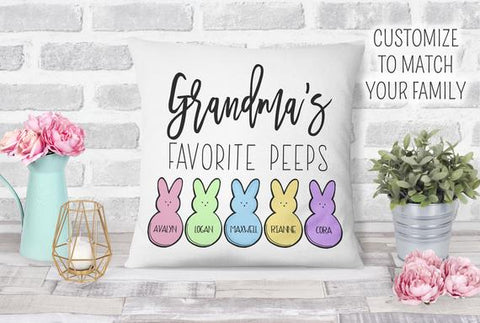 Easter Personalized Grandma's Favorite Peeps Pillow