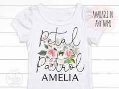 Girl's Personalized Petal Patrol Flower Girl Crochet Trim Top