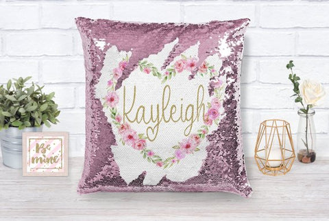 Valentine's Day Personalized Heart Sequin Pillow