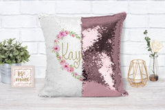 Personalized Heart Sequin Pillow