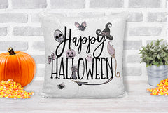 Happy Halloween Black and White Sequin Pillow