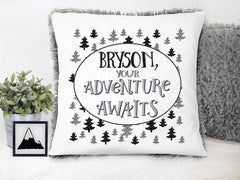 Boy's Personalized Your Adventure Awaits Plush Pillow