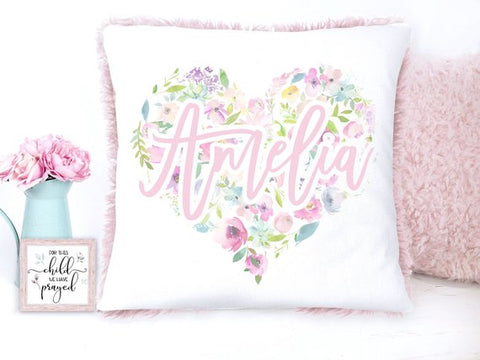 Personalized Floral Heart with Name Pillow