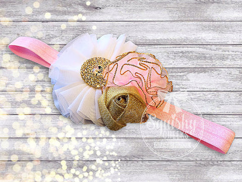 Pink and Gold Headband and Sandals- purchase individually or as a set