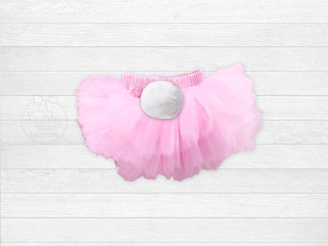 Girl's Easter Light Pink Chiffon Bloomers w/ Bunny Tail