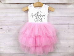 Girl's Pink and Silver Birthday Girl Dress