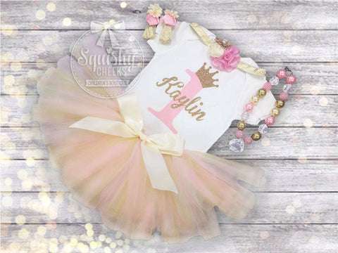Girl's Pink and Gold Birthday Princess Tutu Outfit