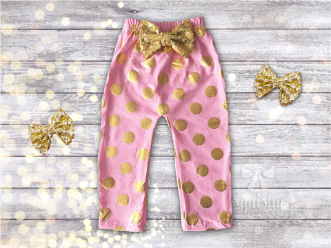 Pink and Gold Polka Dot Baby Leggings