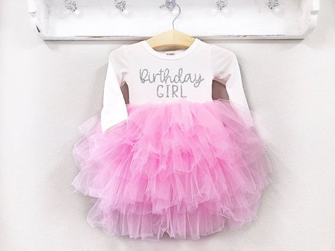 Girl's Pink and Silver Long Sleeve Birthday Girl Dress