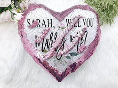 Personalized Proposal Heart Shaped Sequin Pillow