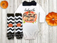 Girl's Personalized Prettiest in the Patch Halloween Outfit