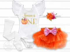 Girl's Personalized Pumpkin Birthday Outfit